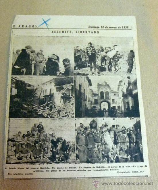 RECORTE PERIODICO, HERALDO ARAGON, GUERRA CIVIL ESPAÑOLA, 13 MARZO 1938, BELCHITE LIBERADO - Foto 1