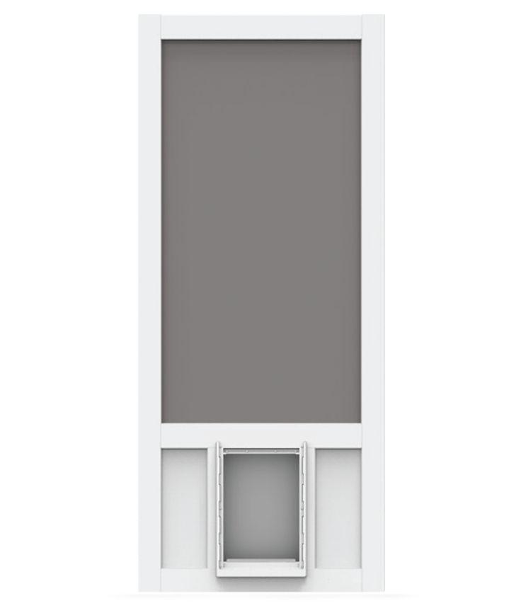 Screen Tight Chesapeake White Vinyl Screen Door with XL Pet Door