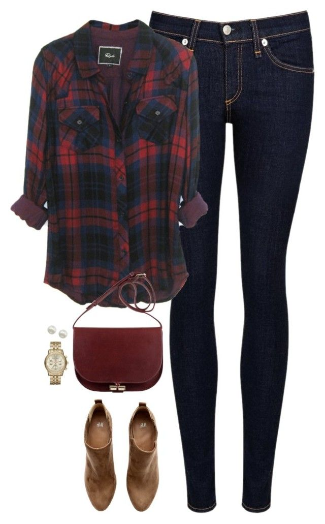 """""""Navy & deep red"""" by steffiestaffie ❤ liked on Polyvore featuring rag & bone/JEAN, H&M, Majorica and Michael Kors"""