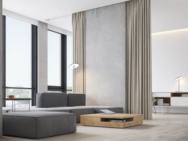 A Minimalist Bachelor Apartment in Montenegro Minimalist apartment interior: The main living area was kept open with floor-to-ceiling curtains acting as dividers to separate the space when needed.