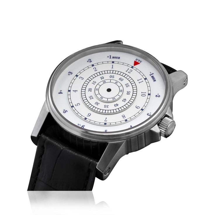 Бесстрелочные механические часы. Schaumburg Watch - Schaumburg Disk. Вращаются диски. Время напротив красного треугольника