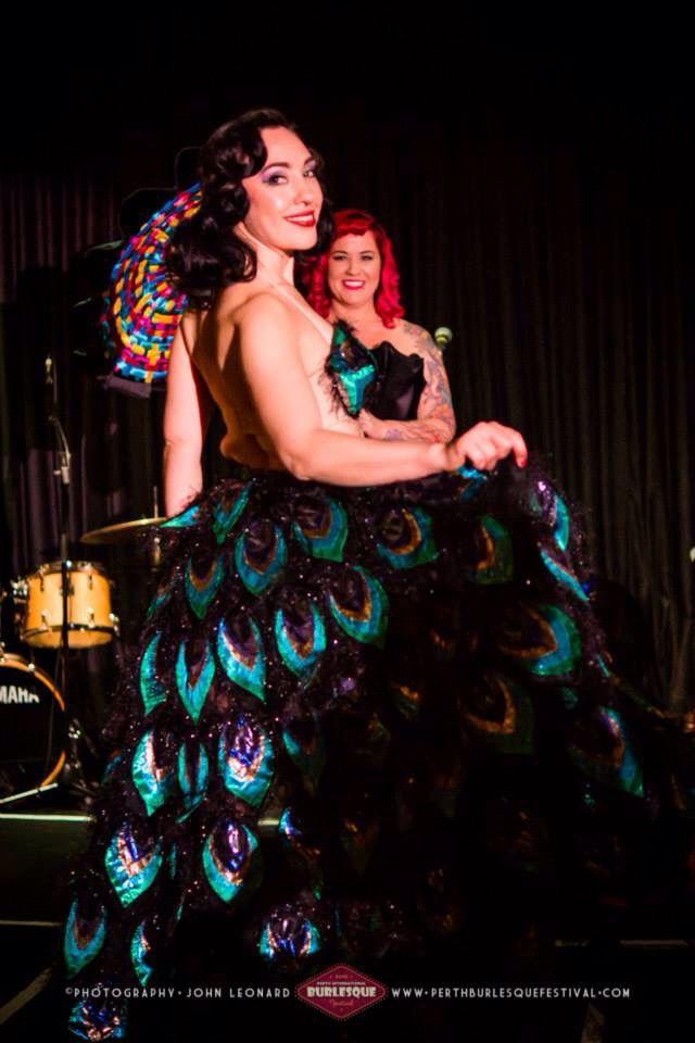 The ever lovely Rose Noir wearing my 2015 Perth International Burlesque Festival Wearable Art Piece. Kim Byrnes