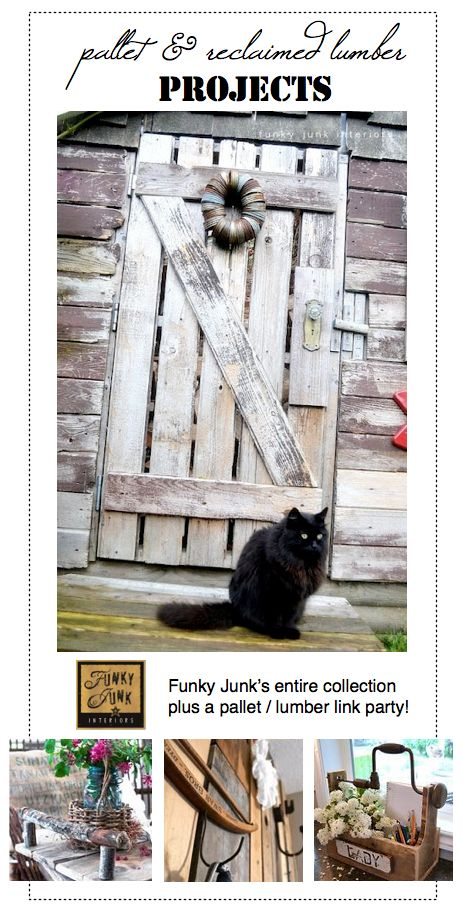 #130+  DIY:: PALLET AND RECLAIMED LUMBER projects linkup (from all bloggers) , including Funky Junk's entire collection !!!