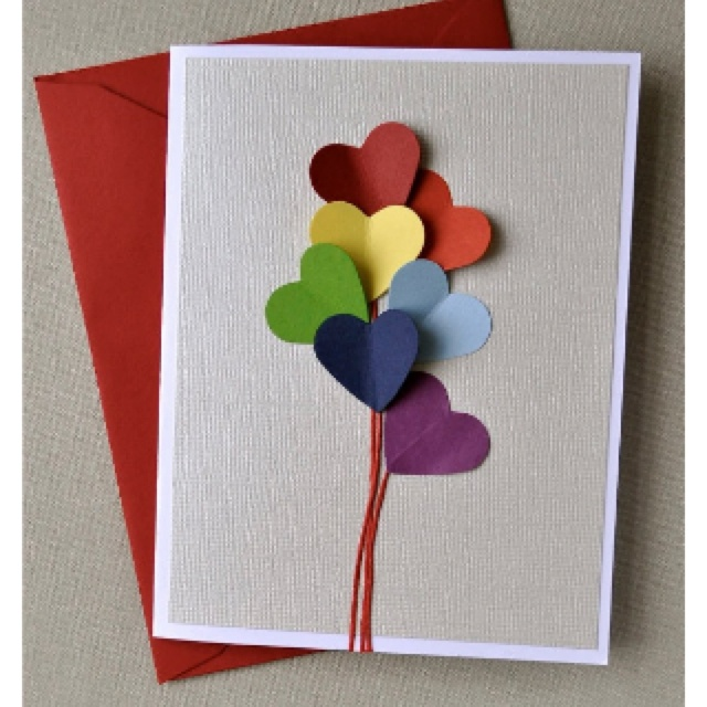 Taking a regular card, layer with different color paper, and cutting out different color heart and clueing them on the card with a price string... Simple and perfectly simple could go for birthday,thank you's, anniversary...