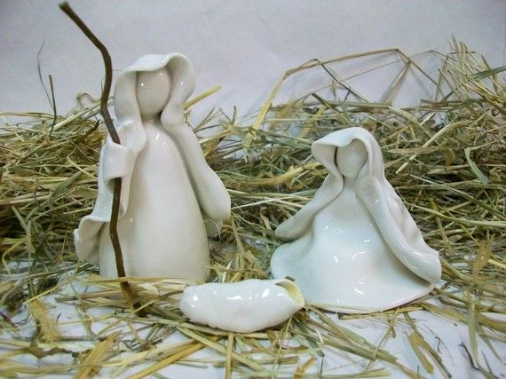 Nativity Set - 3 pc  - Made to Order  - Handmade, Wheel Thrown Porcelain - Translucent White