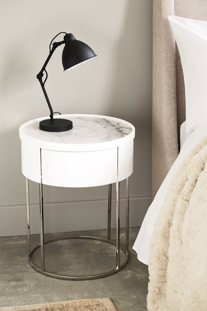 Next Sloane Marble Round 1 Drawer Bedside Table White White Bedside Table Marble Bedside Tables Bedside Table
