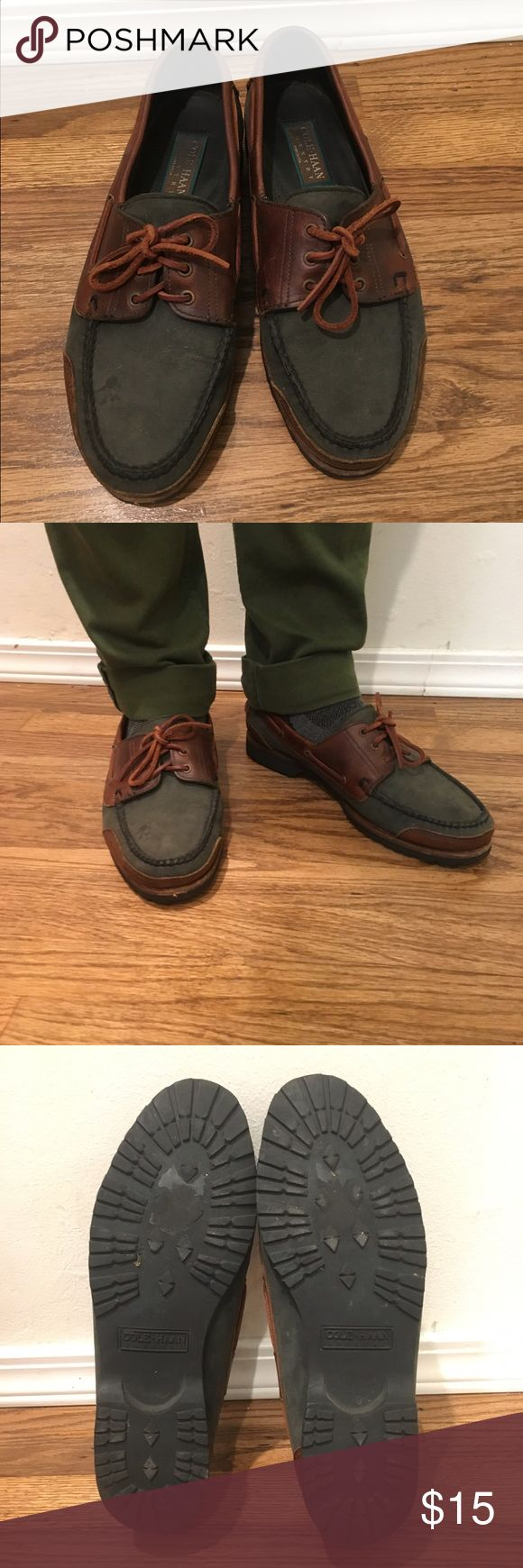 Cole Haan Boat Shoes Dark gray and brown boat shoes by Cole Haan barely worn. In great condition Cole Haan Shoes Boat Shoes