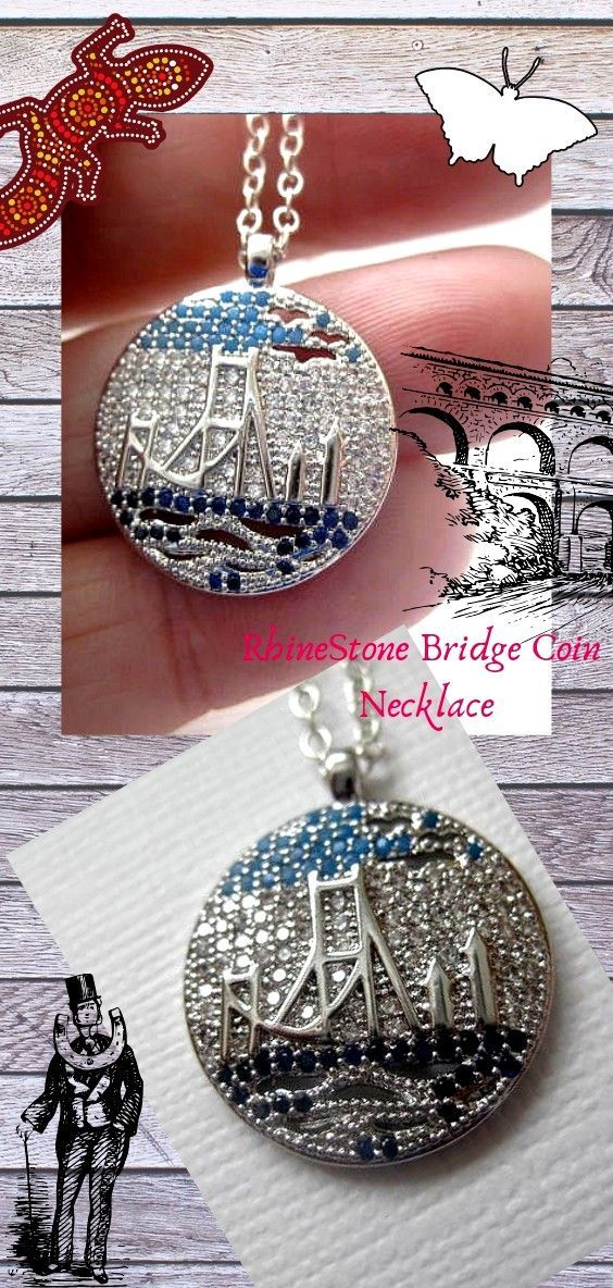 Golden Gate Bridge Representation Coin Necklace with Micro Paved Cubic Zirconia….Fashion Crash Jewelry