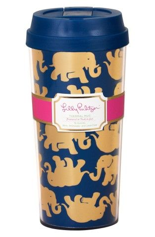 Keep your coffee nice and warm this navy and gold elephant mug from Lilly Pulitzer.