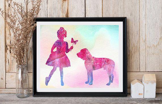 Modern nursery wall decor Girl with dog Bloodhound Dog print