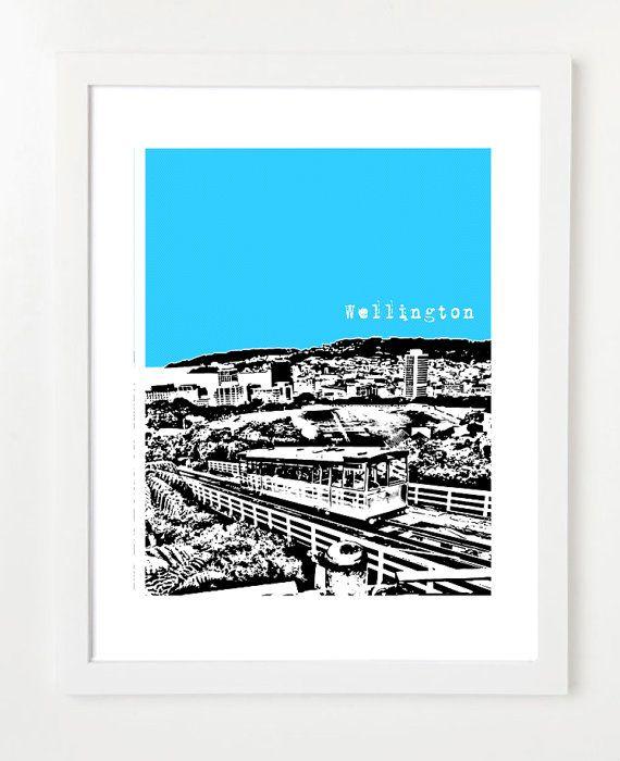 Wellington New Zealand Poster  City Skyline Art by BugsyAndSprite