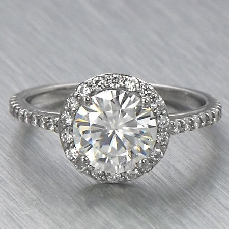 9mm Round Moissanite Halo Engagement Ring Petite | eBay - sold