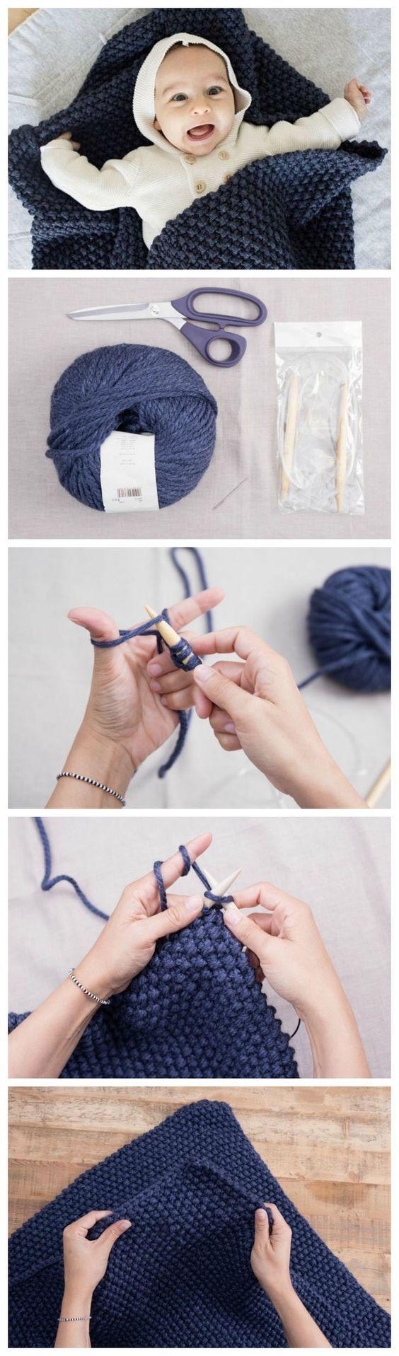 Kostenlose Strickanleitung: Babydecke mit Perlmuster stricken / free diy knitting tutorial