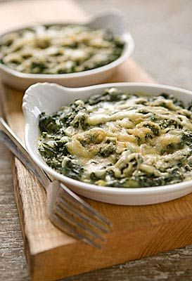 This gratin will convert those wary-of-green-vegetable eaters to greens lovers. A simple white sauce lightly coats Swiss chard leaves, and a topping of cheese and crisp breadcrumbs seals the deal. For a different presentation, bake in individual gratin dishes or ramekins rather than one large dish. Make up to a day ahead and keep in the fridge until ready to serve.
