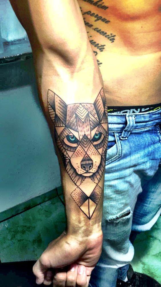Geometric Broken Lines Wolf Forearm Tattoo