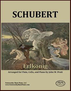 """NSM's newest listing is Schubert's ever-popular song """"Erlkönig"""", inspired by the poem by Goethe, now arranged for flute, cello, and piano by John Pratt.  In this version of the Erlking, the flute gives voice to the child, whereas the cello makes a natural father.  The piano is treated as a member of a trio, rather than an accompaniment to solo voice, and given a wider range of expressive sonorities."""