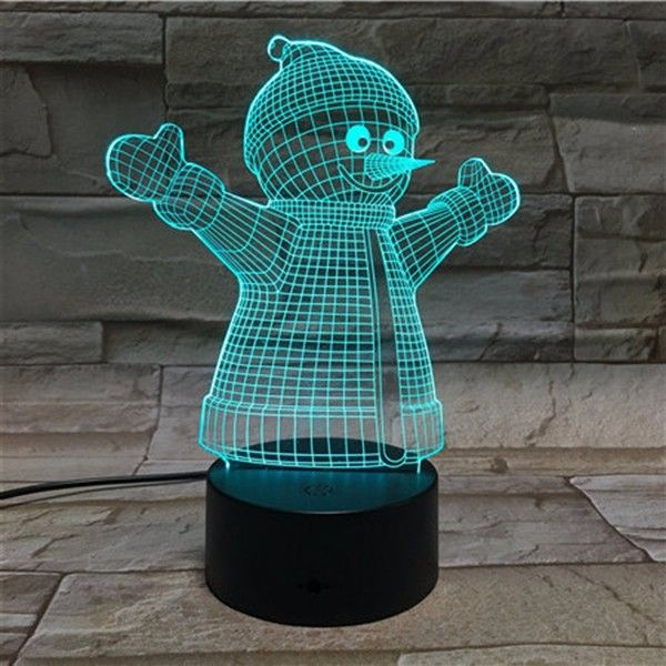 Christmas Snowman 3D Stereo LED Lights Colorful Touch Night Light Gift USB Table Visual Lights