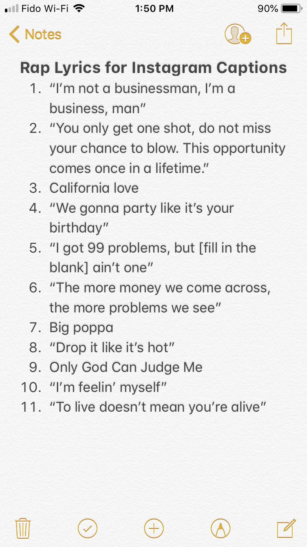 Rap Lyrics For Instagram Captions : lyrics, instagram, captions, Instagram, Captions, Photos, Selfies, Caption, Lyrics,, Songs,, Witty