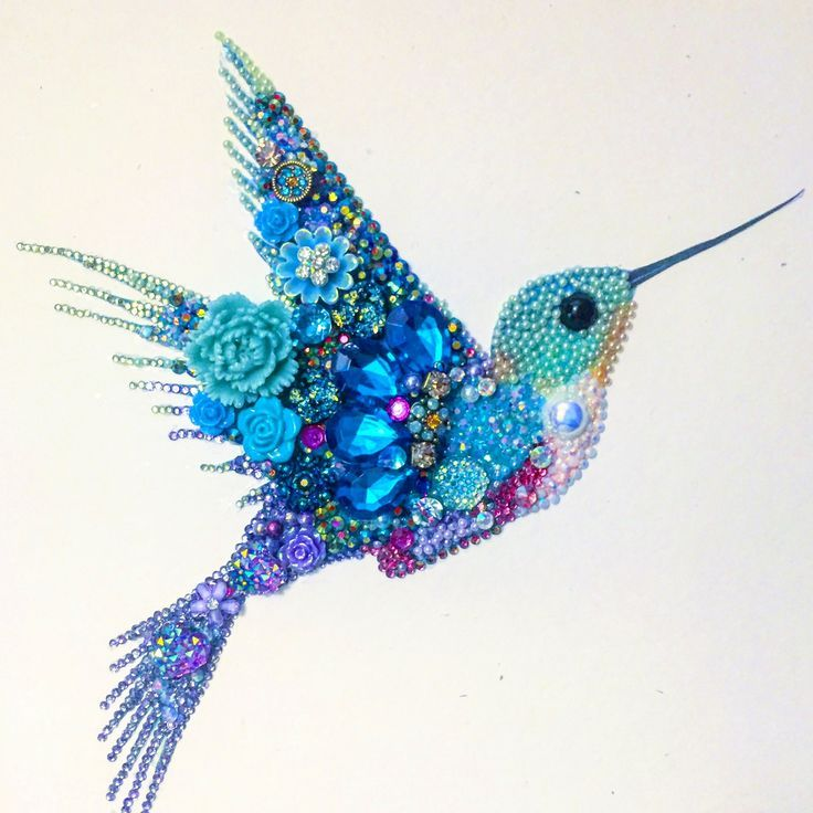 Hummingbird mixed media and button art