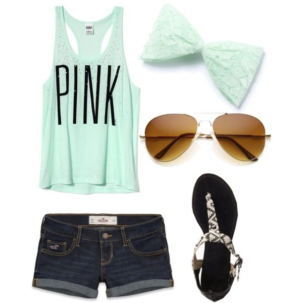 A fashion look from April 2013 featuring Victoria's Secret tops, Hollister Co. shorts and Forever 21 sandals. Browse and shop related looks.