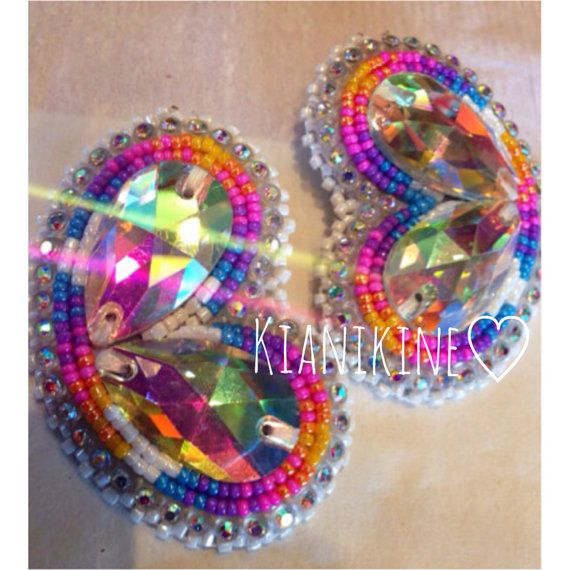 Native American Beaded Earrings double gem set  by KianiKine, $40.00
