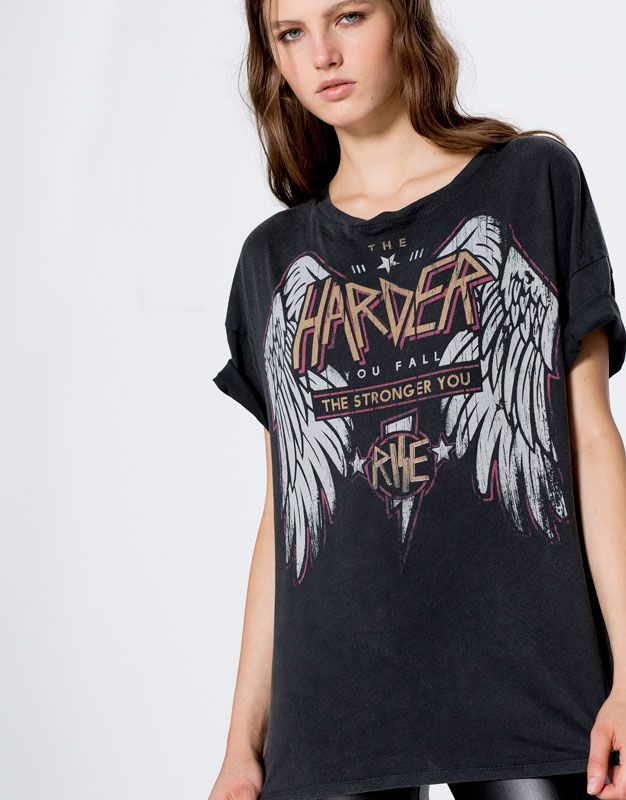 Harder street t-shirt with wings - Clothing - New - Woman - PULL&BEAR Croatia