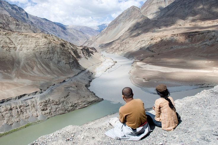 The Zanskar meets the Indus  The confluence of the two rivers occurs near Nimmoo, Jammu and Kashmir, northern India. Photo: Jace