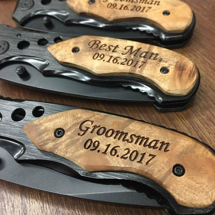Save this for your groomsmen gifts!  Our personalized pocket knives make great gifts from your groomsman, best man, ushers, father of the bride & groom and any other man in your wedding.  Give them a gift they will actually use!  This sharp stainless steel blade is ideal for everyday use.  This knife is lightweight and features a pocket clip for easy transport.  Stop giving our wedding favors that are lame, and gift that will make them feel like a man.
