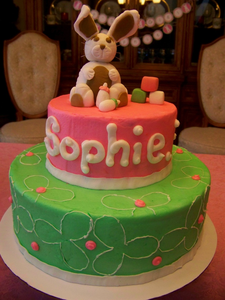 Bunny baby shower cake with cream cheese icing filling and buttercream icing.