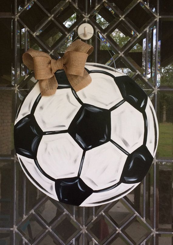 Soccer ball sports door hanger by aWhitofWhimsy on Etsy