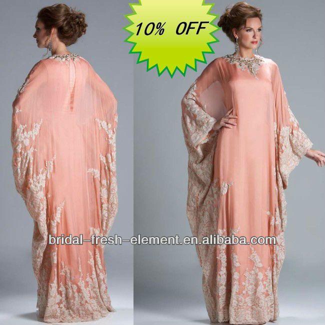 Hot Sale Exclusive Lace Appliqued Long Sleeve 2014 Arabic Dubai Abaya Kaftan Style Prom Dress $89~$169 Shaimaa