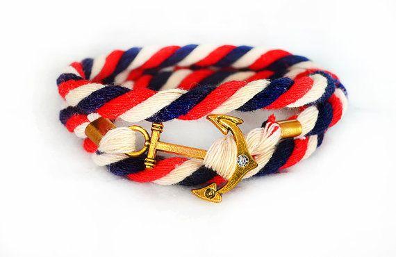 Vintage rood, blauw en wit anker touw nautische armband