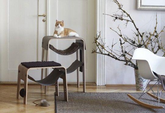 Arbre à chat grattoir design en noyer VISTA