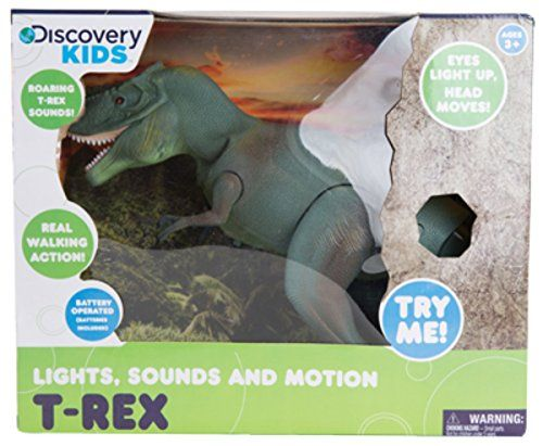 Discovery Kids, Dinosaures T-Rex Lumières et sons, On pèse sur le bouton, et la tête de la figurines bouge et le t-rex cris. 3+ans. 30.99$ Disponible en boutique ou sur notre catalogue en ligne. Livraison rapide au Québec.  Achetez-le info@laboiteasurprisesdenicolas.ca