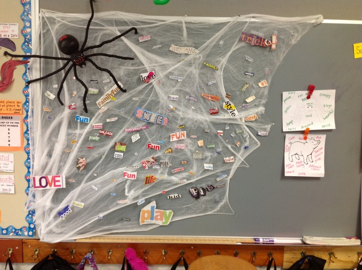 Charlotte's Web activity...we cut out words from magazines  that describe Wilber and glued them to a class web :-)