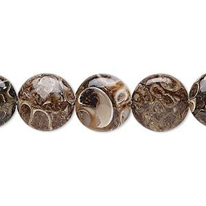 Bead, turritella agate (stabilized), 12mm puffed flat round, B grade, Mohs hardness 6-1/2 to 7. Sold per 16-inch strand.