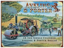Steam Traction Engine Porter Roller & Aveling Wagon Vintage Small Metal/Tin Sign