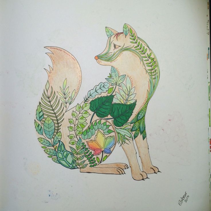 Fox decorated with leaves From Johanna Basfords 'enchated forest'