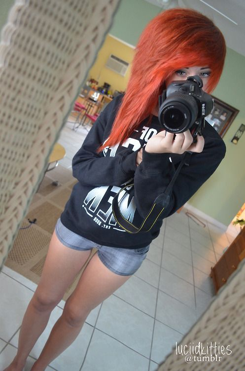 Scene hair. If I could just have a thigh gap like this is be happy