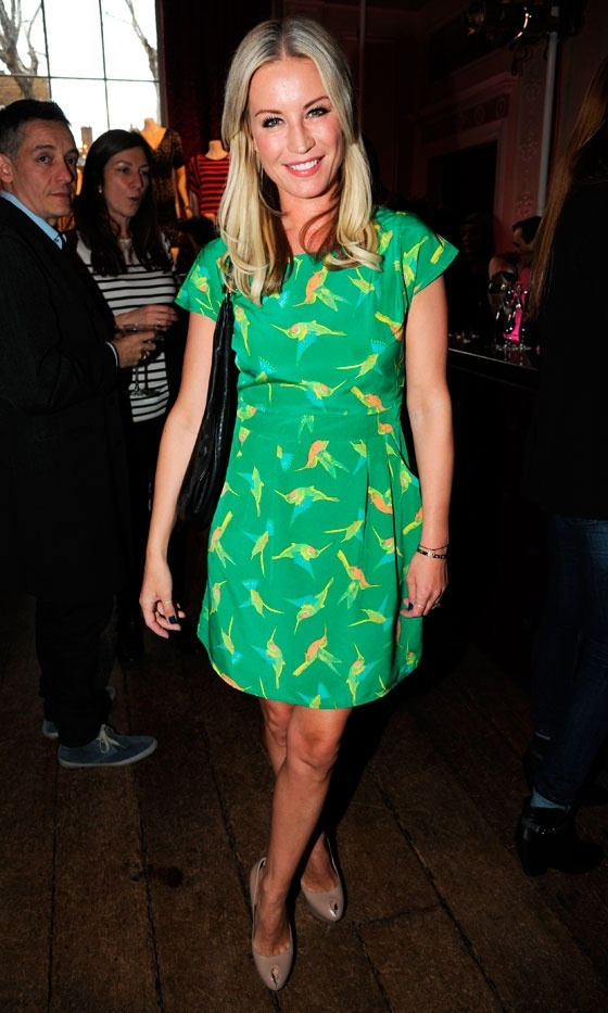 I'm lusting over this Marks and Spencers dressed but it's sold out! {Denise Van Outen Rocks An Emerald Bird Print Dress, 2012}