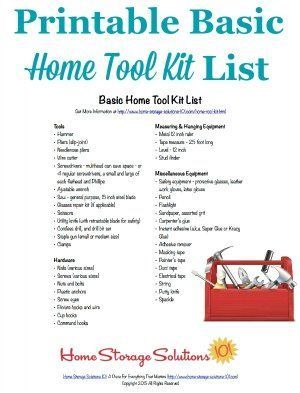 free printable home tool kit list to make sure you have all the essential tools necessary