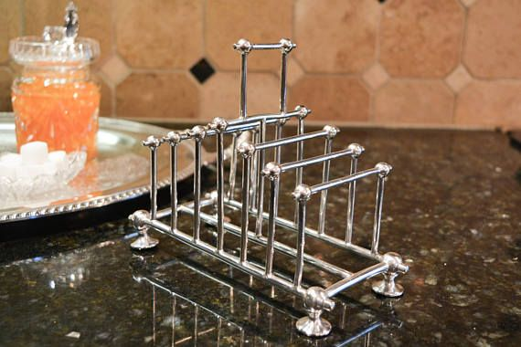 Antique Silver Plate English Toast Rack  William Hutton &