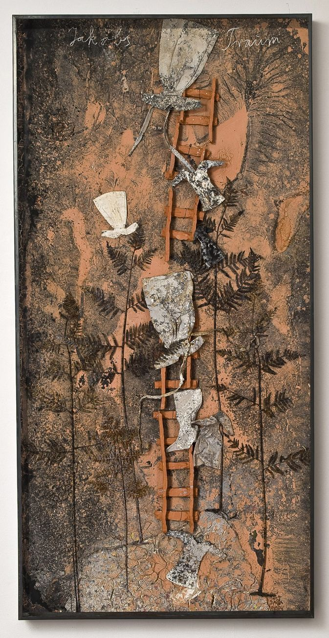 ANSELM KIEFER, Jakobs Traum, 2010  Paint, clay, ash, and chalk on board with iron, resin ferns, cotton and linen dresses, and ceramic ladder