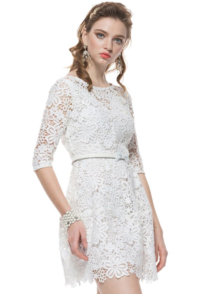White Crochet Lace Half Sleeve Dress With Belt | abaday