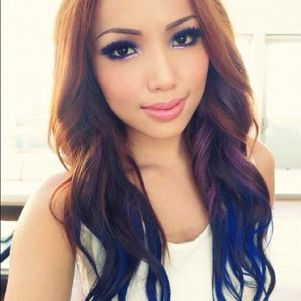 Blue dip dye hair hair and makeup - Ombre hair chatain ...
