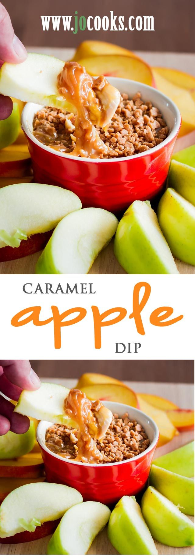 Caramel Apple Dip – with cream cheese and skor bits, just dip, scoop and bite. Perfect for a kids party, or just a snack.