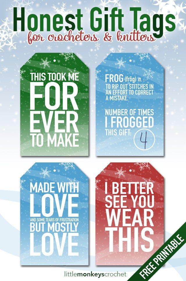 Honest Gift Tags for Crocheters | free crochet gift tag printable from Little Monkeys Crochet