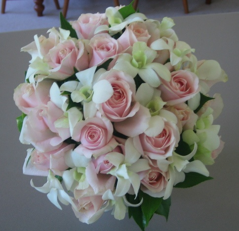 mix of roses and orchids