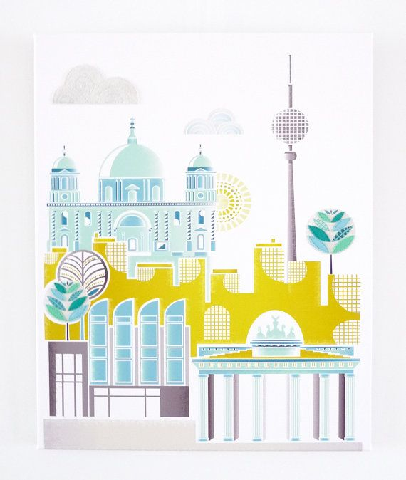 Berlin Canvas, European City Textile Print Pictures for viewing from the bunk beds...