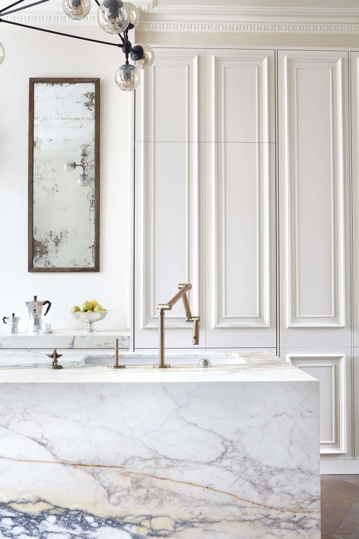 modo chandelier, antique mirror, brass tap, paonazzo marble, panelled kitchen, painted kitchen, victorian detailing, chevron parquet, notting hill - #blakeslondon